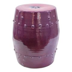 1970s Ceramic Garden Seat in Purple