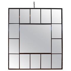 Antique Large Cast Iron Window Frame as Multi-Pane Mirror