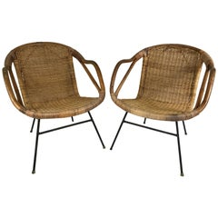 Rattan and Wrought Iron Armchairs in the Manner of Arthur Umanoff