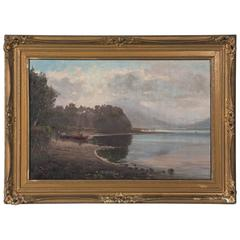 Antique 19th Century Landscape Oil Painting from Germany