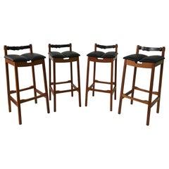 Set of Four Leather Strap Danish Barstools