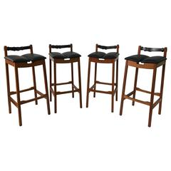 Bddw Wood And Leather Barstools At 1stdibs