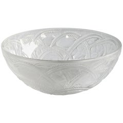 Exquisite Vintage French Clear and Frosted Glass Pinsons Bowl, Rene Lalique