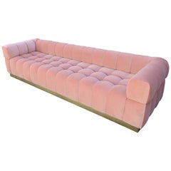 Custom Tufted Pink Velvet Sofa with Brass Base