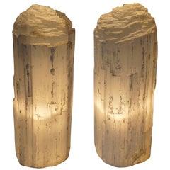 Pair of Quartz Table Lamps