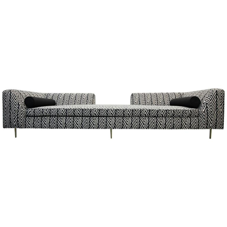 Customized European Open Back Sofa with Brass Legs
