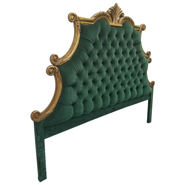 French Provincial Hollywood Regency Style Green Velvet Tufted King Headboard For
