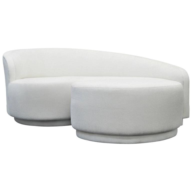 Petite curved sofa and ottoman by vladimir kagan for for Curved sectional sofa with ottoman
