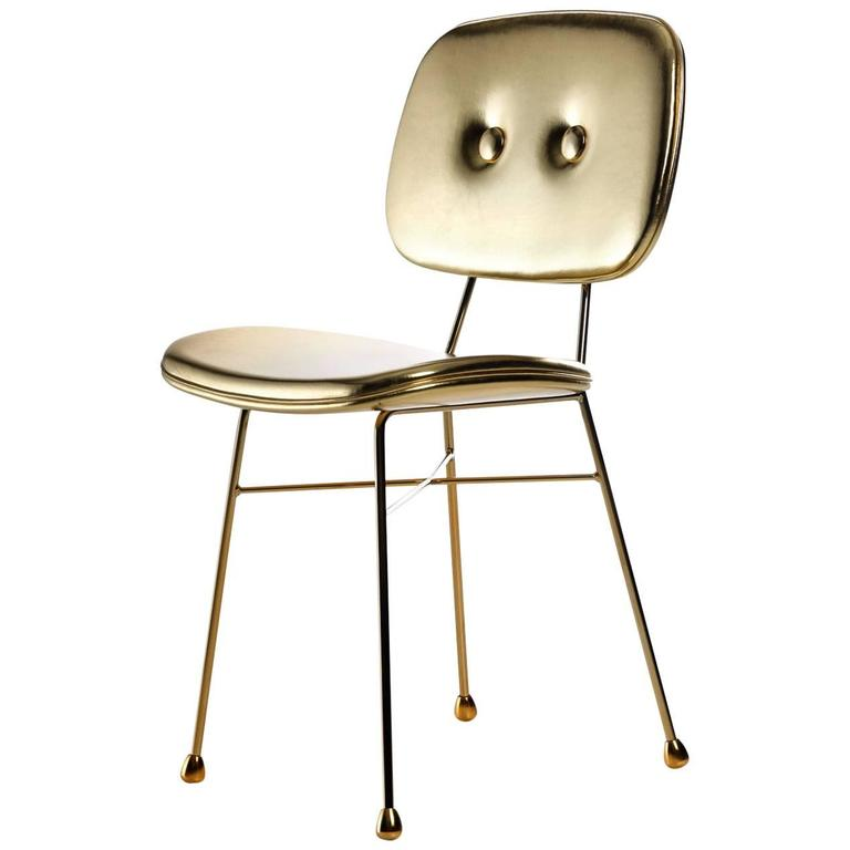 """Moooi """"The Golden Chair"""" in Gold Synthetic Leather and Gold Chromed Steel"""
