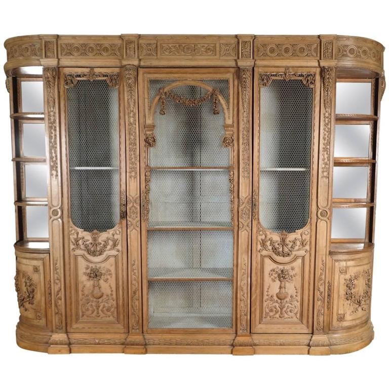 Rare Louis XVI Carved Beechwood Biblioteque Or Breakfront Cabinet For Sale