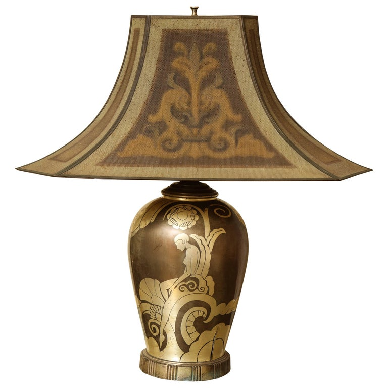 French Art Deco Dinanderie Table Lamp For Sale