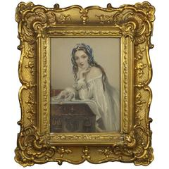19th Century Engraving of a Lady Amy Robsart Gilt Gesso Rococo Style Frame