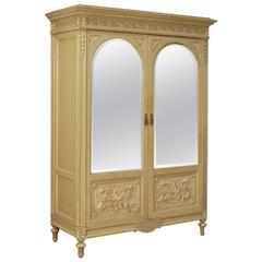 20th Century Italian Lacquered and Painted Wardrobe in Louis XVI Style