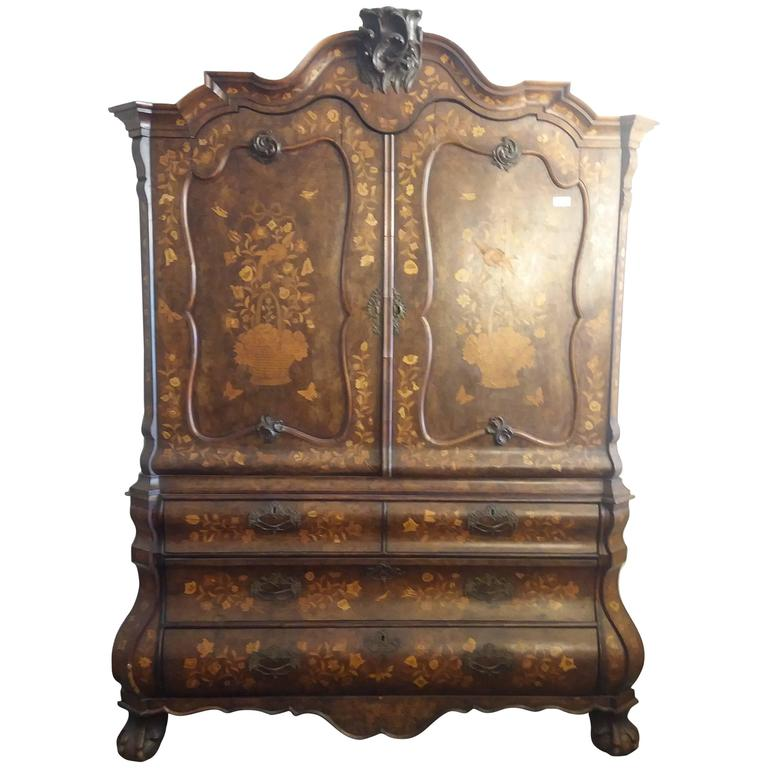 Dutch Inlaid Olive Wood Cabinet For Sale At 1stdibs