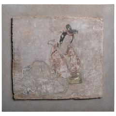 Ancient Chinese Tang Dynasty Stucco Fresco Panel, 700 AD