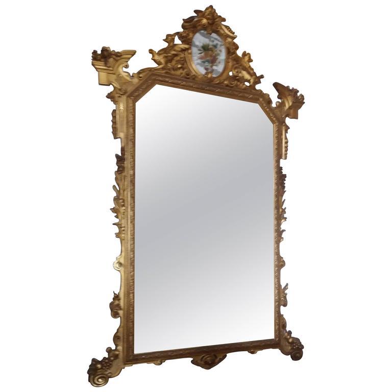 20th Century Art Nouveau Gold Wood Italian Mirror, 1920s