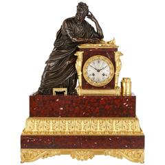 Gilt, Patinated Bronze and Red Marble Mantel Clock by Gacheux
