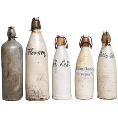 Set of Five Early 20th Century, German Stein Beer or Weißbier Bottles