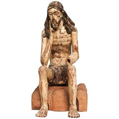 19th Century Carved Fruitwood Sitting Martyr Figure, Christ on a Rock