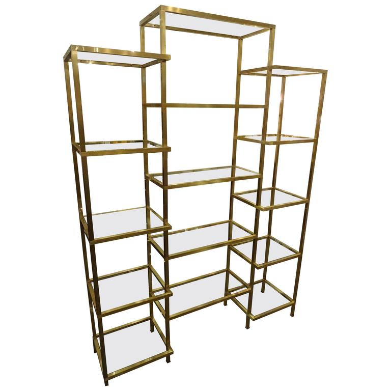 Mid-20th Century Brass Glass Shelving Unit at 1stdibs