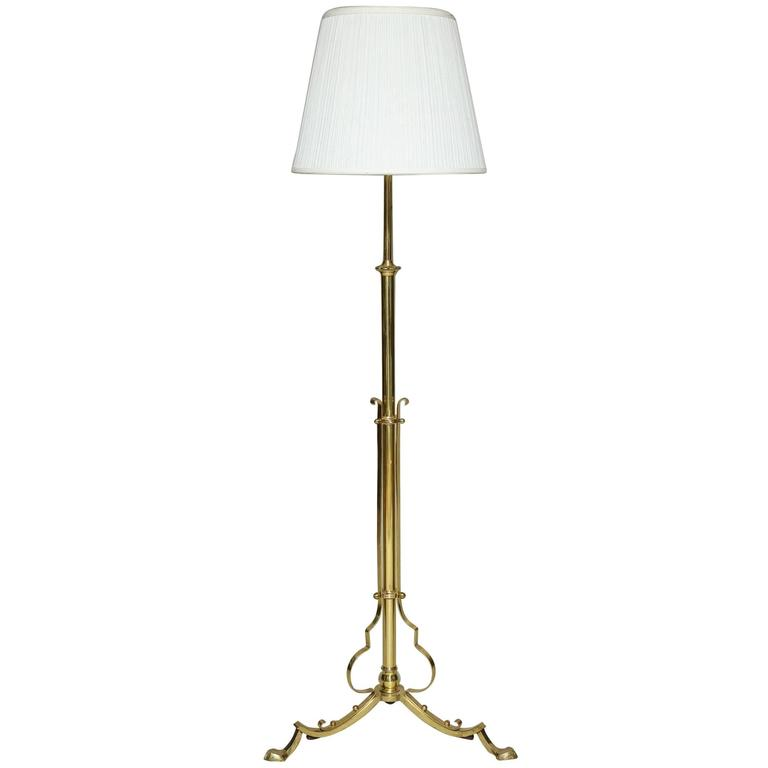 English Aesthetic Movement Brass Adjustable Floor Lamp