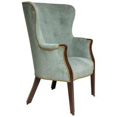 Georgian Mahogany Barrel Back Wing Chair
