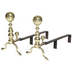 Brass Ball Top Andirons