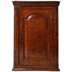 Rich Burl Wood Corner Cupboard