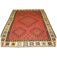 Old Anatolian Sharkoy Kilim, Western Turkey, Soft Red Color