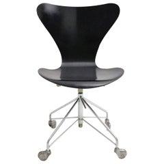 Mid Century Modern Vintage Black Office Chair by Arne Jacobsen 1950s,Denmark