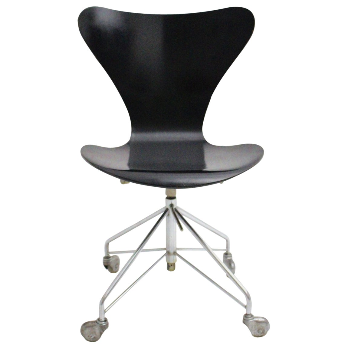 Mid Century Modern Vintage Black Office Chair by Arne Jacobsen 1950s,Denmark