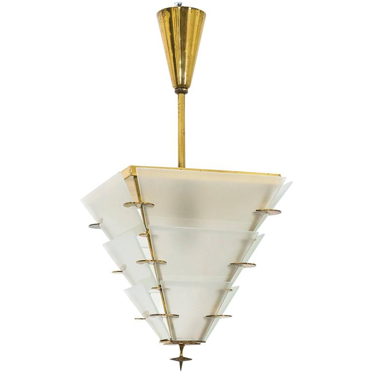 Petite Art Deco Brass and Glass Lantern, 1930s