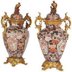 Pair of Large Ormolu Mounted Japanese Imari Porcelain Vases