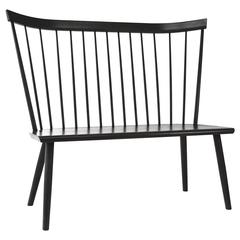 Colt Settee Bench from O&G Ebony Stain on Ash American Modern Windsor