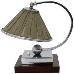 Art Deco Wood Chromed Metal Green Fabric Vintage Table Lamp, France, 1920s