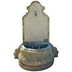 Wonderful Antique Small Garden Stone Fountain with Ancient Faucet and Metal Bars