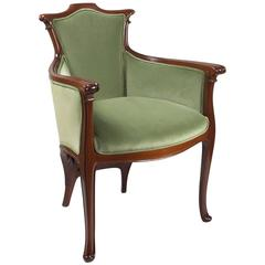 French Art Nouveau Wooden Armchair by Edouard Colonna