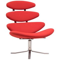 Bright Red Erik Jorgensen EJ 5 Corona Chair Designed by Poul Volther