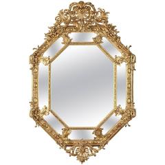 19th Century Large Napoleon III Giltwood and Stucco Mirror