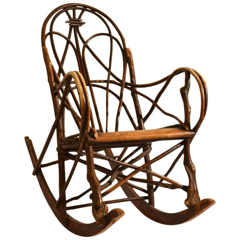 Early 20th Century Scandinavian Rocking Chair Bent Wood Willow