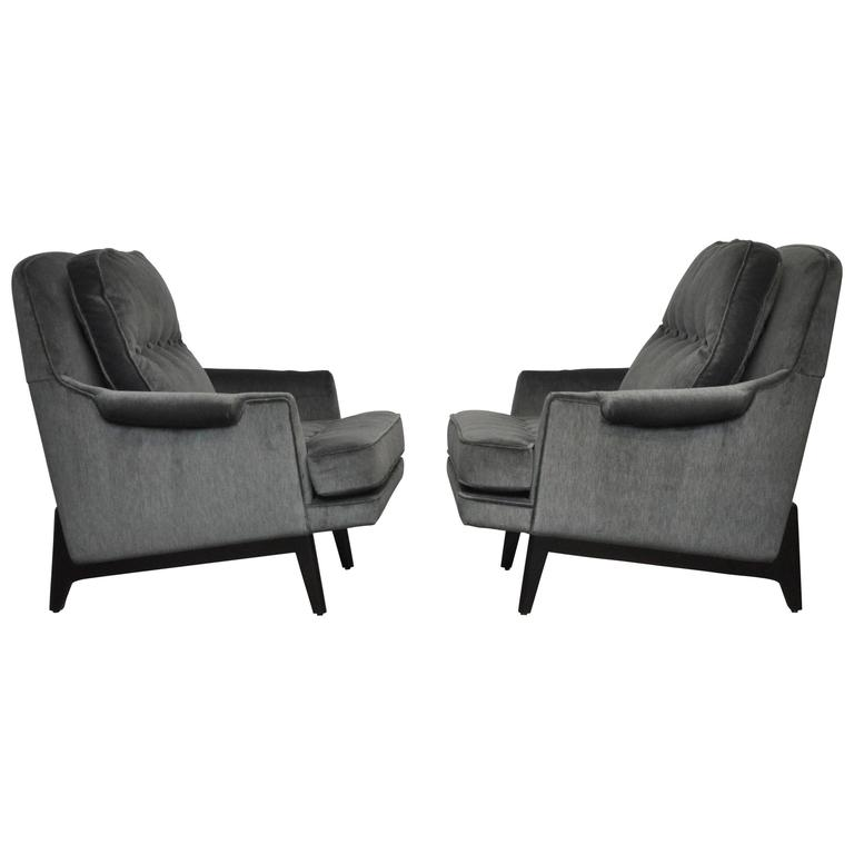 Dunbar Lounge Chairs in Grey Velvet For Sale
