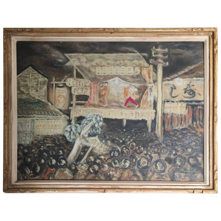 Japanese Inviting Noh Play Impressionist Oil Painting Signed, 1930 For Sale