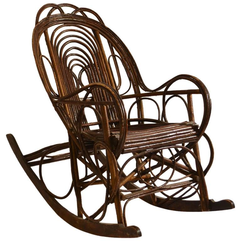 Unique Furniture For Sale: Unique Early 20th Century Swedish Rocking Chair In Bent