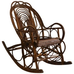 Early 20th Century Swedish Rocking Chair in Bent Wood Willow