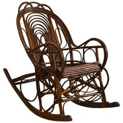 Unique Early 20th Century Swedish Rocking Chair In Bent Wood Willow