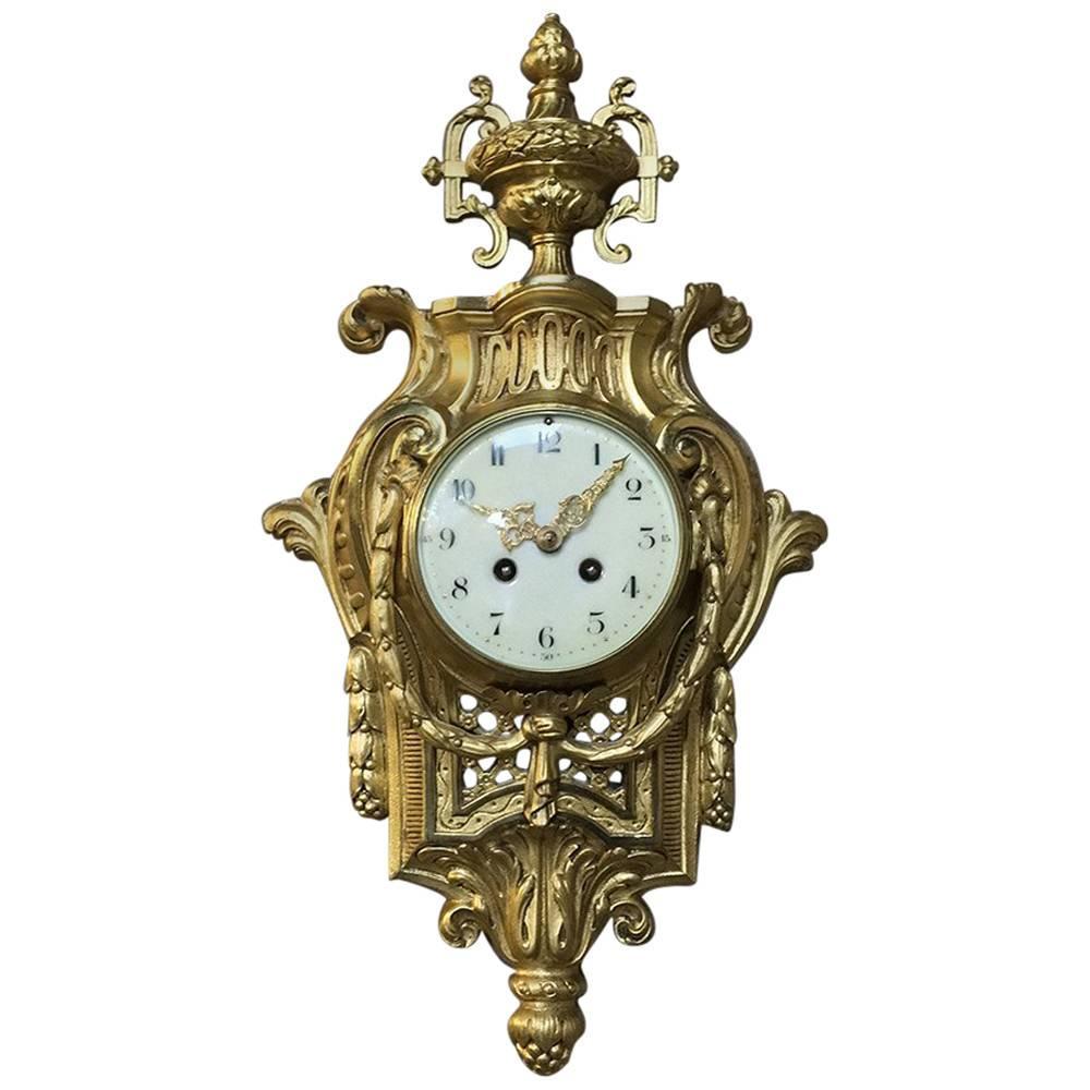 19th Century French Louis XVI Bronze D'ore Wall Clock Cartel