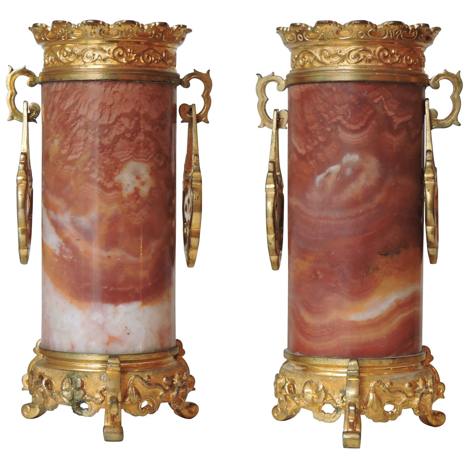 French japonisme ormolu and silvered bronze cut glass vase l pair of japonisme marble and ormolu vases in the style of edouard livre floridaeventfo Image collections