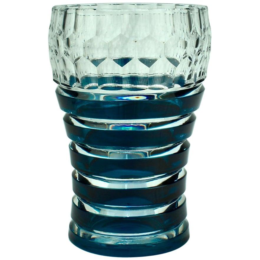 Val Saint Lambert Dark Teal Overlay Art Deco Franckenthal Art Glass Vase, 1930s
