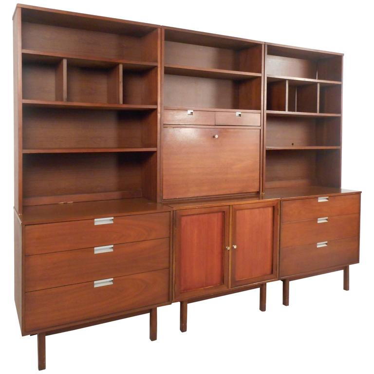 large midcentury modern standing wall unit by bassett furniture 1
