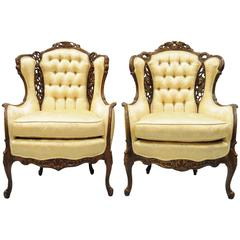Pair of Carved Wingback French, Louis XV Style Chairs Figural Living Room Parlor